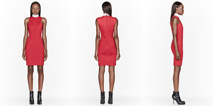 20140105-denis-gagnon-red-and-white-collar-geometric-jersey-dress